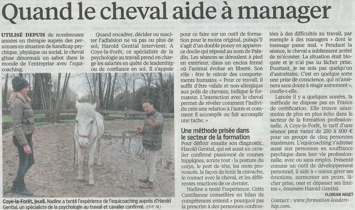 Formation au leadership, manager un cheval - retombée presse sur le Parisien